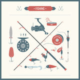 Set of  Fishing tackle. In flat style. Fishing reel, hooks, float, lures, bait. Elements, Icons and illustrations for design, website, infographics, posters and Stock Photography