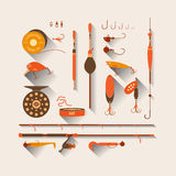 Set. Fishing tackle. Set of  Fishing tackle in flat style. Fishing reel, hooks, float, lures, bait. Elements, Icons and illustrations for design, website Stock Image