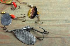 Set of fishing tackle Stock Photos