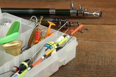 Set of fishing tackle Stock Photos