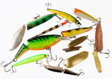 Set of fishing tackles. On light background Royalty Free Stock Photo