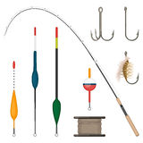 Set of fishing tackles colorful icons isolated on white background. Royalty Free Stock Photos