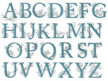Vintage fishnet floral alphabet font. Royalty Free Stock Images