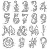 Vintage fishnet floral numeric figures. Set of fishnet lace font with numeric figures and additional signs Royalty Free Stock Photo