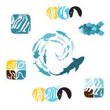 Set of fishy icons 01 Royalty Free Stock Photo