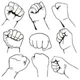 Set of fists Stock Photos