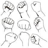 Set of fists royalty free illustration