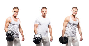 Set of fit and sporty bodybuilder men isolated on white Royalty Free Stock Photos
