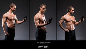 Set of fit and sporty bodybuilder men Royalty Free Stock Photography