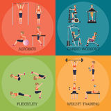 Set of fitness aerobic strength and body shaping exercises. Royalty Free Stock Image