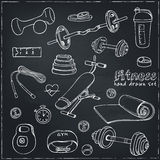 Set of Fitness bodybuilding diet and health care sketch icons Royalty Free Stock Photos