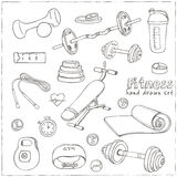 Set of Fitness bodybuilding diet and health care sketch icons Stock Photo