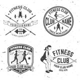 Set of fitness club badges. Vector. Concept for shirt or print, stamp, patch or tee Royalty Free Stock Photo