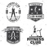 Set of fitness club badges. Vector. Concept for shirt or print, stamp, patch or tee Stock Photo