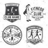 Set of fitness club badges. Vector. Concept for shirt or print, stamp, patch or tee Royalty Free Stock Photos