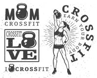 Set of fitness emblems. Set of monochrome fitness emblems, labels, badges, logos and designed elements stock illustration
