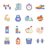 Set of fitness flat icons Stock Image