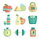 Set of fitness flat icons Stock Photos