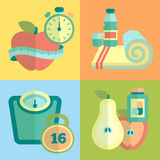 Set of fitness flat icons Stock Photography