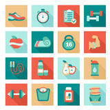 Set of fitness flat icons. Vector illustration Royalty Free Stock Photo