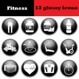Set of fitness glossy icons Stock Images