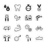 Set of fitness icons Stock Photos