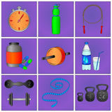 Set of fitness icons. Set of nine colorful fitness icons purple background Stock Photography