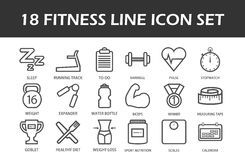 Set of 18 fitness line icons Stock Image