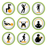 Set of Fitness Pictogram Buttons Royalty Free Stock Photography