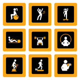 Set of Fitness Pictograms in Squares Stock Photos