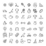 Set of Fitness and Sport doodle icons for web and mobile. Stock Image