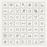 Set of Fitness and Sport doodle icons for web and mobile. Royalty Free Stock Photos