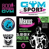 Set fitness and sports nutrition logo and emblem. Labels and elements of designs for fitness centers, sports products, training Stock Photo