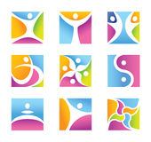 Set of fitness symbols and icons vector illustration