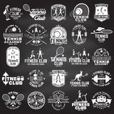 Set of fitness and tennis club concept with girls doing exercise and tennis player silhouette. Vector fitness and tennis club retro badges. For gym signs vector illustration