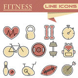 Set of fitness thin line icons. Set of line modern color icons for fitness Stock Photo
