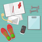 Set of fitness tools. Royalty Free Stock Images