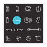 Set of Fitness Vector Illustration Elements can be used as Logo Royalty Free Stock Image
