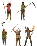 A set of five angry villagers with pitchforks. Individual angry peasant characters that can easily be extracted and combined in various combinations to form a stock illustration