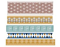 Set of  five Babylonian designs. A set of different Babylonian style border pattern designs Stock Images