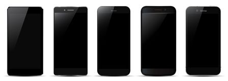 Set of five black smartphone - vector illustration