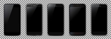 Set of five black smartphone royalty free illustration