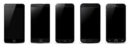 Set of five black smartphone - vector vector illustration