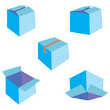 Set of five blue boxes Royalty Free Stock Photography