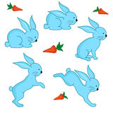 Set of five blue Easter rabbits Stock Image