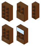 Set of five book cupboards. Isometric. Royalty Free Stock Image