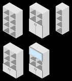 Set of five book cupboards. Isometric. Set of five book cupboards. Vector illustration. Set for isometric interior Royalty Free Stock Photography