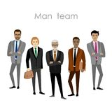 Set of five businessman. Cartoon men`s business team. Isolated on white background. Vector flat illustration Stock Photos