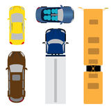 A set of five cars. Coupe, convertible, station wagon, cargo van, bus. View from above. illustration Stock Photography