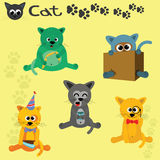 A set of five cartoon cats Royalty Free Stock Photo